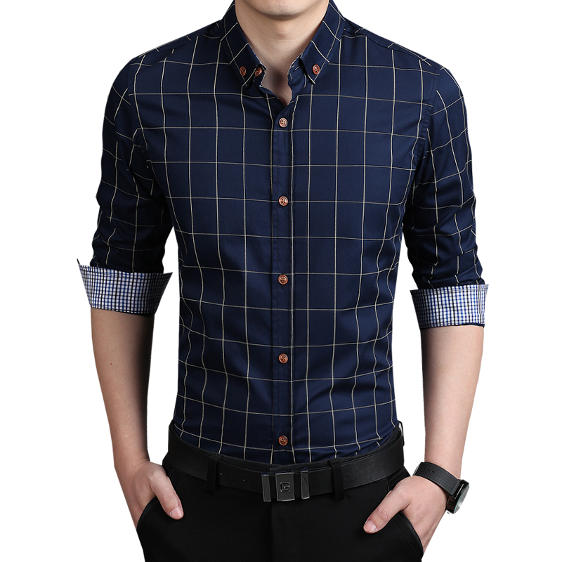 2018 New Autumn Fashion Brand Men Clothes Slim Fit Men Long Sleeve Shirt Men Plaid Cotto ...