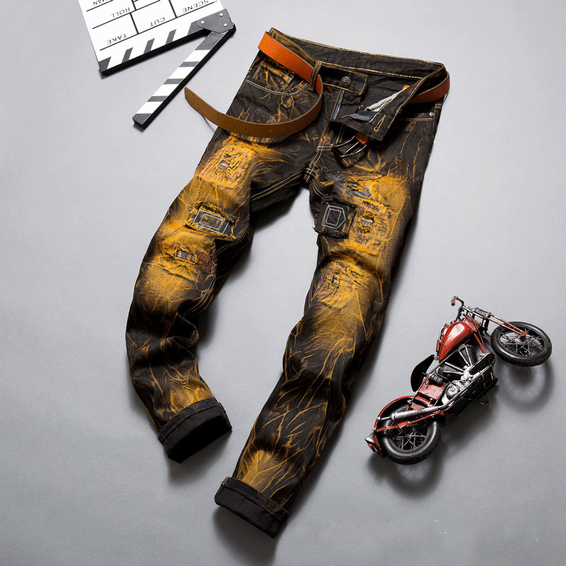 ФОТО 2016 New Fashion Mens Distressed Bronze Denim Jeans Retro Colour Patchwork And Stitching Famous Brand Jean Trouser Size 28 To 38