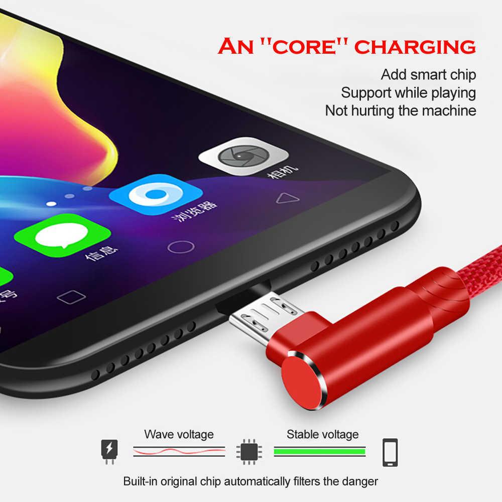 Câble de chargement Micro USB 90 degrés 2M 3M câble de chargement pour Samsung s7 xiaomi redmi LG Nylon tressé câble de données de chargeur rapide pour Android