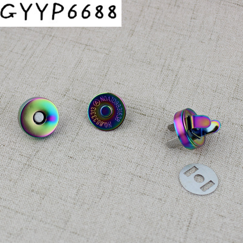 18mm Rainbow Hung Plating Dish Shape Magnetic Snap Button Clasp Fastener For Handbag Purse Wallet Closure