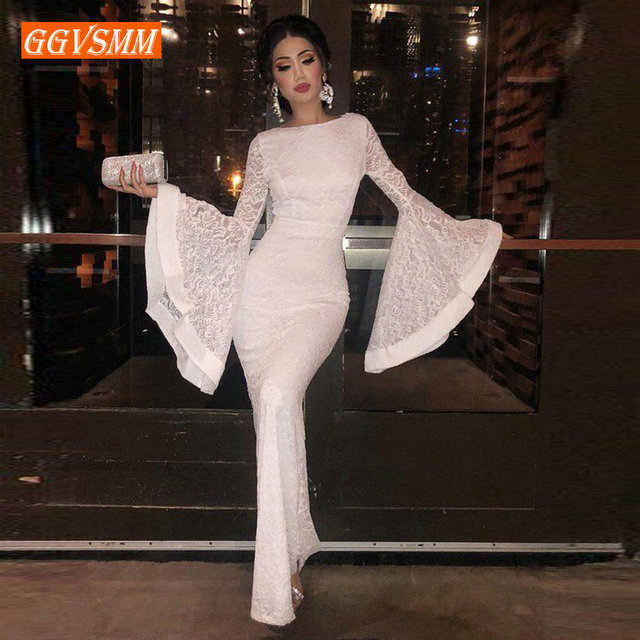Stylish Women Ivory Lace Mermaid Evening Dresses 2019 Evening Gowns Long Scoop Full-Sleeve Floor Length Lady bodycon Party Dress