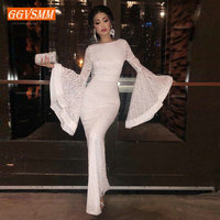 Stylish Women Ivory Lace Mermaid Evening Dresses 2018 Evening Gowns Long Scoop Full Sleeve Floor Length Lady bodycon Party Dress