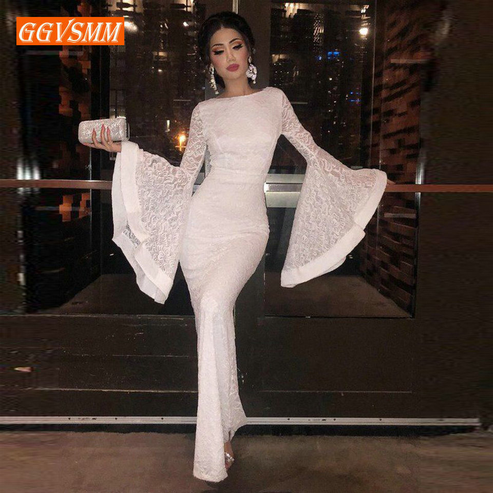 Stylish Women Ivory Lace Mermaid   Evening     Dresses   2018   Evening   Gowns Long Scoop Full-Sleeve Floor Length Lady bodycon Party   Dress