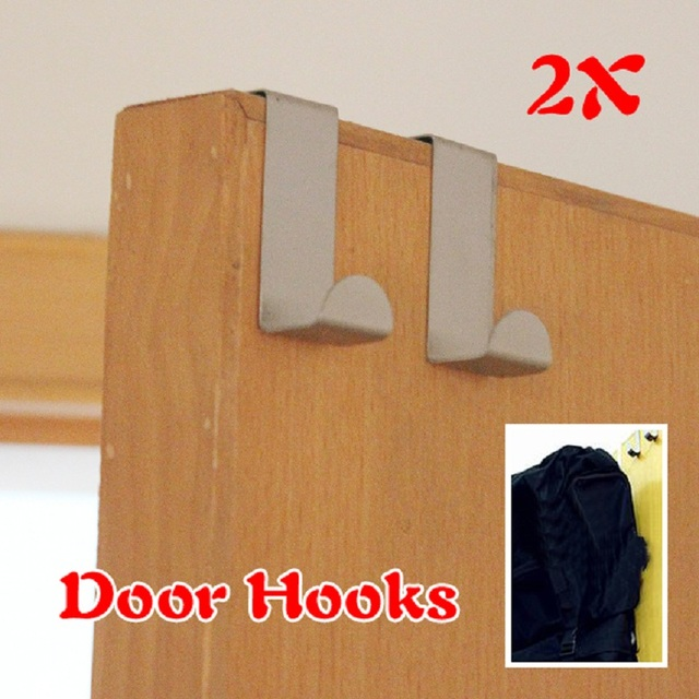 2Pcs/Set Stainless Steel Hooks Home Kitchen Wall Door Holder Hook Clothes  Bags Hanger Organizer