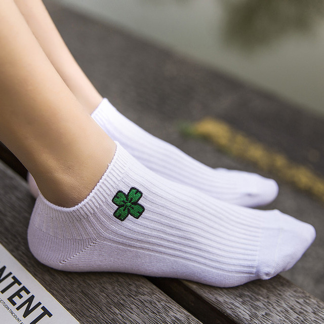 New Spring Summer Funny Cartoon White Ankle length Sock