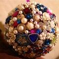 7-дюймовый пользовательские свадебный букет, Жемчуг алмаз букет, ювелирные изделия букет, ручной брошь невесты, подарок Корсажи