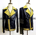 Fashion Rivets Design PU Leather Jacket Top Male Singer Dance Wear Stage Stones Costume