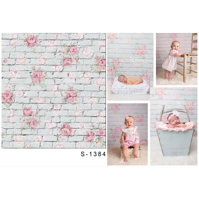 New hot Newborn Seamless Vinyl Photography Background Flower Brick Backdrops Computer Children backdrop for photo Studio S-1384 wooden floor and brick wall photography backdrops computer printing thin vinyl background for photo studio s 1120