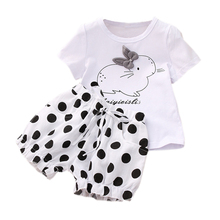Baby Girl Set Summer Cartoon Cute Rabbit T Shirt And Polka Dot Shorts Two-Piece Children Clothes Toddler Girls Kids Suit W