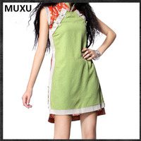 MUXU Summer Vestido Medieval Vintage Dress Yellow Dress Clothes Women Floral Womens Clothing Fashionable Cotton Ladies