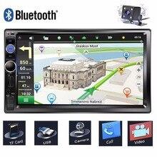 7 pollici Touch Screen Car Multimedia Player 2 Din Autoradio di Navigazione GPS Bluetooth Radio Stereo Auto Car DVD USB SD macchina Fotografica di retrovisione