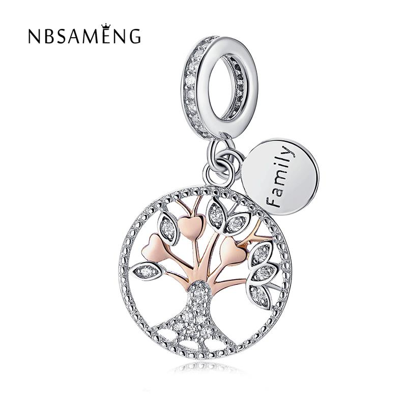 Real 925 Sterling Silver Bead Family Rose Sliver Tree Heritage Dangle Pendant Charm Fit Original Pandora Bracelet Jewelry