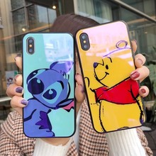 Blue-ray Tempered Glass Case For iPhone XS MAX XR X Pooh Stitch Cute Cartoon Back 6 6s 7 8 Plus Cover Coque