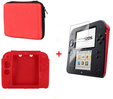 Red Silicone case Bag+Protect Clear Touch Film Screen Guard+Red EVA Protector Hard Travel Carry Case Pouch bag for nintend 2DS new survivor impact hybrid hard case for ipod touch 5 with screen protector black red