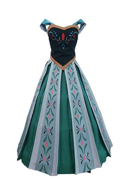 Top Embroidery Movie snow princess Anna costume formal dress cosplay clothes