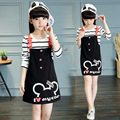 Spring Kid girl fashion striped skirt suit children with drill strap skirt two piece sets
