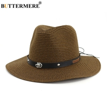 BUTTERMERE Jazz Hat Men Coffee Beach Sun Hat Summer Belt Scorpion Decoration Outdoor Casual Adjustable Male Panama Straw Hat цена 2017