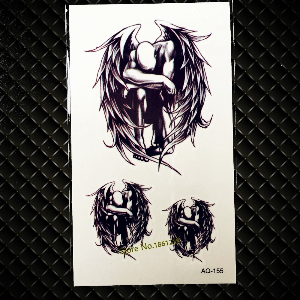Dark Fallen Angel Demon Temporary Tattoo Sticker For Men Women Arm Leg Fake Tattoo Waterproof Body Art Tattoo Stickers GAQ-155 sticker