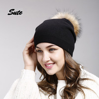 SUTE Raccoon Fox Fur Poms Winter Hats Asymmetry High Quality Knitted Vogue Warm Casual Hat Female