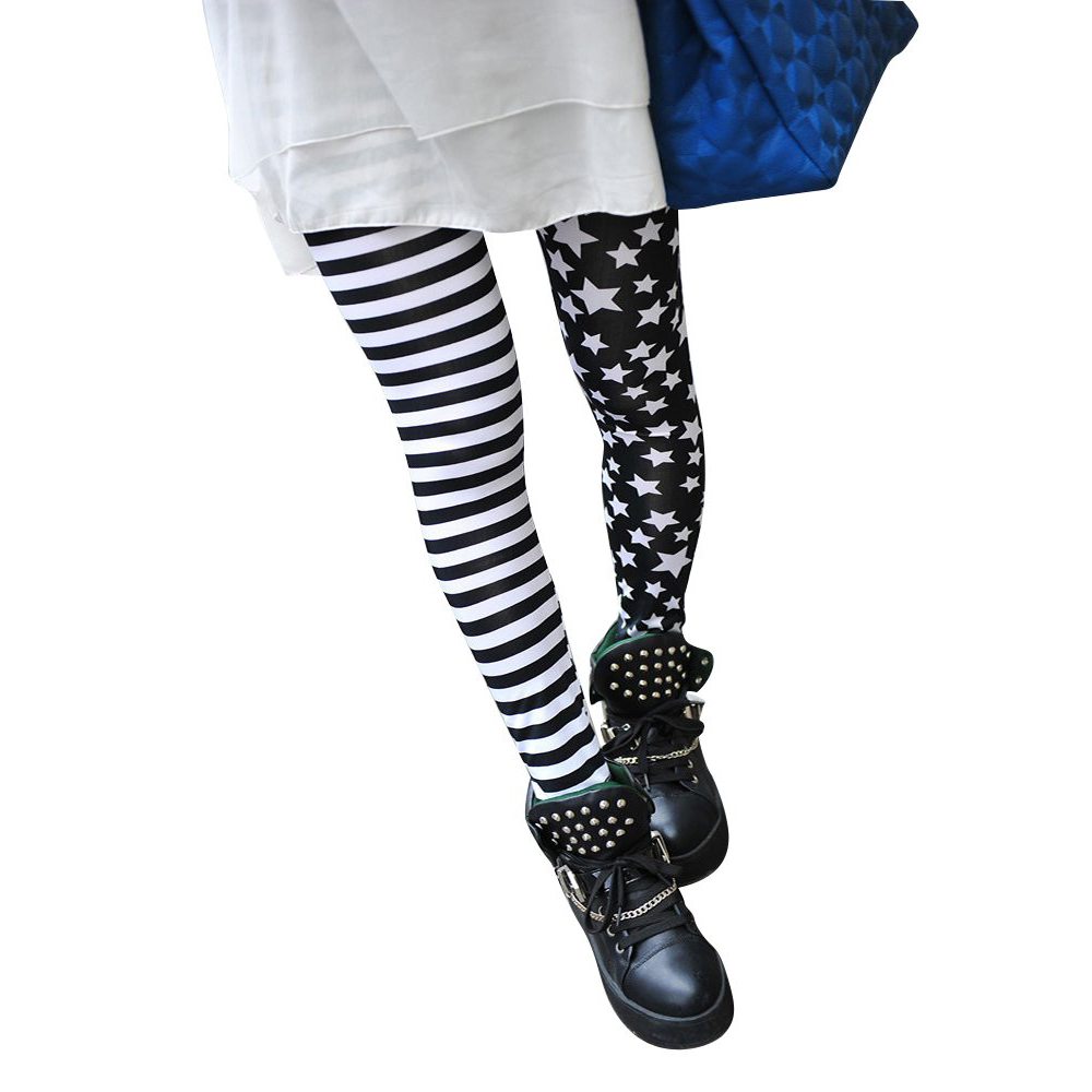 SYB-Woman Leggings Black With Stripes And Stars Pattern White Fashionable