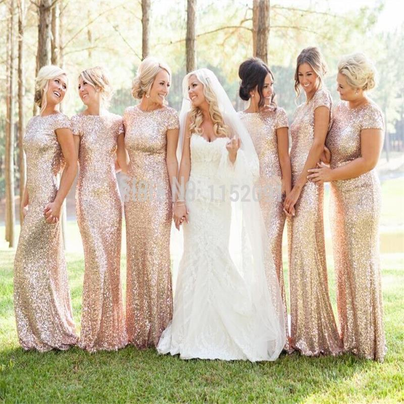 2016 spring bridesmaid dresses plus size gold sequins cap for Maid of honor wedding dresses