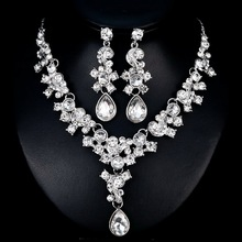 Wedding Jewelry Sets Big Crystal Water Drop Bridal Jewelry Set For Women Silver Choker Necklace Earrings Wedding Decoration недорого