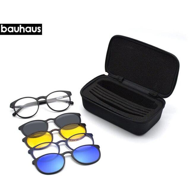 50cd9c74a18 Italia Diseño bauhaus 5 Lente Imán Clip de Gafas de sol Hombres Conducción  Nocturna Espejo Magnético