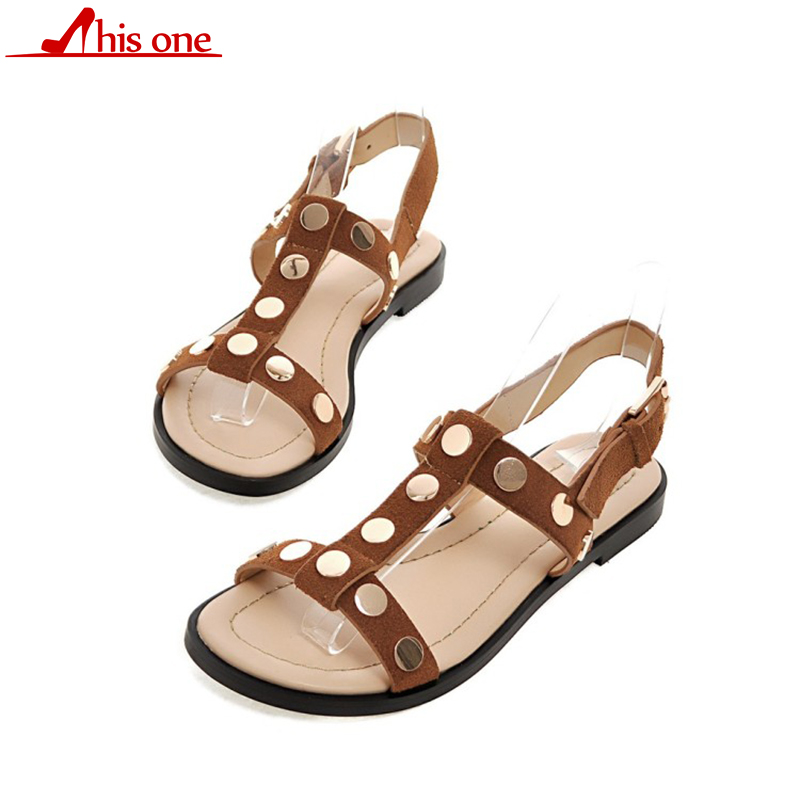 2018 Summer Brand Patent Cow Leather Women Sandals Size 35-39 Low Heels Shoes Woman Rivet Casual Shoes2018 Summer Brand Patent Cow Leather Women Sandals Size 35-39 Low Heels Shoes Woman Rivet Casual Shoes