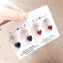 Korea Handmade Crystal Heart Mink hair Women Drop Earrings Dangle Fall Winter Fashion Jewelry Accessories-JQD5