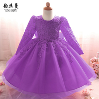 Baby Dresses for Newborn 3 6 9 12 18 24 Months Kids Full Sleeve Red Lace Princess Party Dress Baby Girls Clothes Vestidos 2L10A