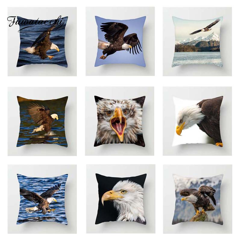 Fuwatacchi Animals Bald Eagle Cushion Cover For Sofa Home Decor Raptor Pillow Car Room Decorative Pillowcase