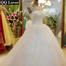 QQ Lover 2017 New Elegant Beaded Lace Ball Gown Wedding dress Bridal Gown Custom made Plus Size Vestido De Noiva