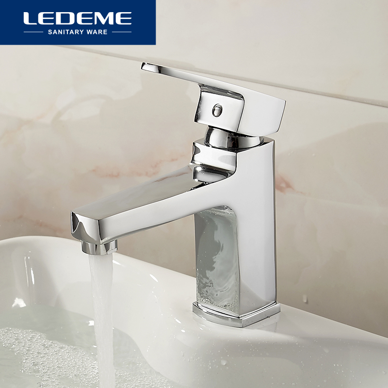 LEDEME Basin Faucets A Multiple layered Handle Square Designer Brass Tap Bathroom Faucet Chrome Modern Waterfall