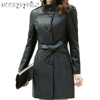 2017 Autumn Winter Faux Leather Jacket Female Single Breasted Plus Size Women Long PU Leather Coat