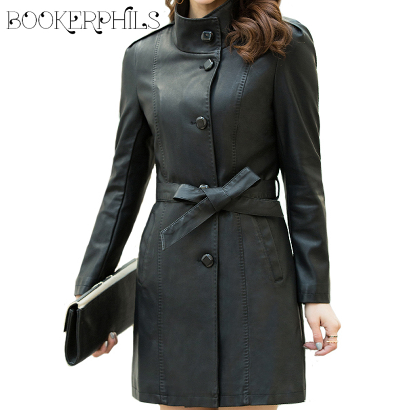2019 Autumn Winter Soft Faux   Leather   jacket Female Single Breasted Plus Size Women Long PU   Leather   Coat chaqueta mujer M-5XL