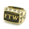 Cool Gold / Silver High Polished Skull Head Letter FTW Rings For Men Punk Rock Style Biker Jewelry Nice Gifts LR489
