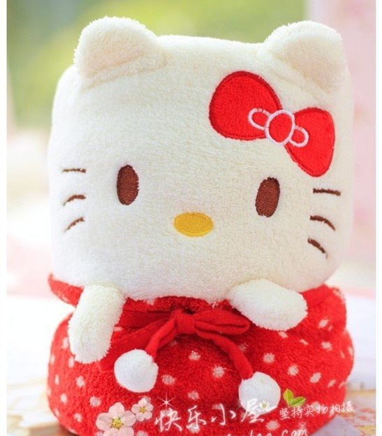 Super soft 1pc 100cm creative cute cartoon dot kitty cat coral fleece car air conditioning small <font><b>blanket</b></font> gift plush stuffed toy