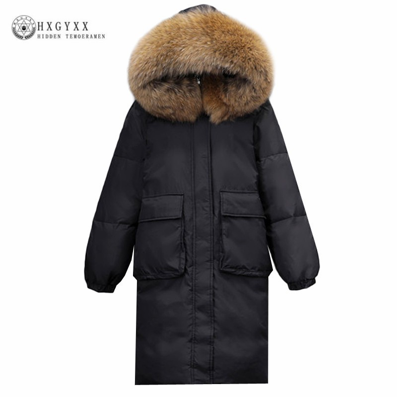 Real Raccoon Fur Winter Goose Feather Puffer Jacket Women Long Hooded Parka Female White Duck   Down     Coat   Snow Warm Outwear Okd439