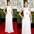 Golden Globe Emily Blunt White Halter Ruched Bodice Sleeveless A Line Casual Evening Dresses