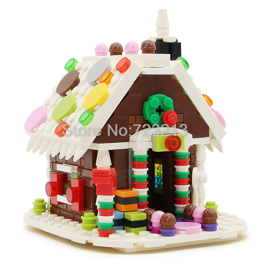 Christmas Scene Gingerbread House MOC Building Bricks Block Kids Model Set Handmade Educational Toys for Children