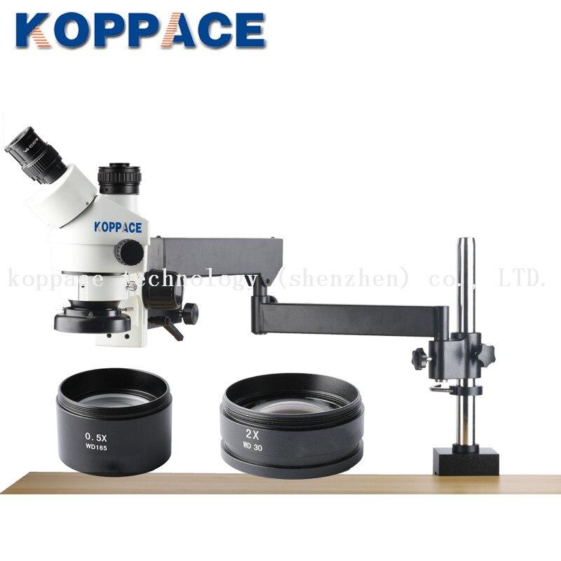 KOPPACE 3.5X-90X Microscope de réparation de téléphone Mobile Zoom stéréo trinoculaire 10X/20 oculaires inclus 0.5X et 2.0X objectif