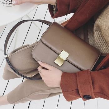 KZNI Genuine Leather Purses and Handbags Leather Shoulder Bag Girl Designer Handbags High Quality Sac Femme Bolsos Mujer 7312
