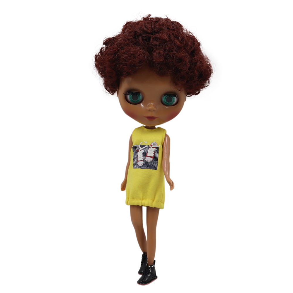 Factory Blyth Doll Nude wine red short curly hair black skin Normal Body Colors For Eyes