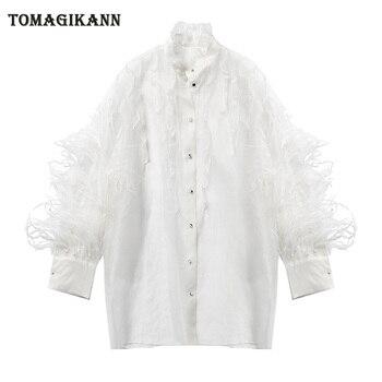 Beyaz Tüy Organze Kadın Bluz Gömlek Tops 2019 Yaz Seksi Şeffaf Ruffles Uzun Kollu Sheer Bluzlar Femme blusas