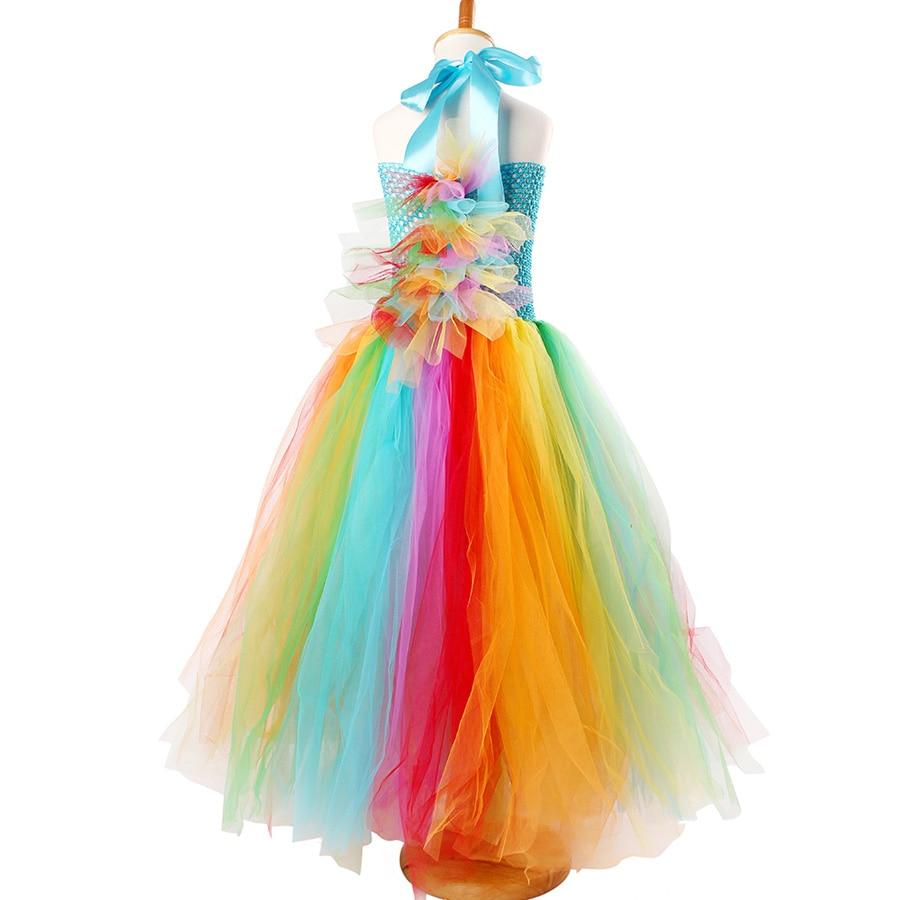 Fluffy Rainbow Dash Girls Tutu Dress with Headband Princess Kids Pony Birthday Party Tutu Dress Girl Halloween Carnival Costume (14)