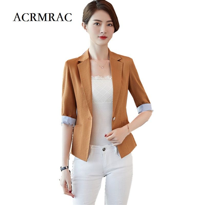 ACRMRAC Women summer New 2018 Short style Solid color Notched collar Half sleeve Slim Casual jacket Blazers A603
