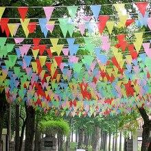 Новинка, 80 м, красочные треугольные украшения для дня рождения, Детские принадлежности, Детские праздничные баннеры, вечерние украшения для свадьбы