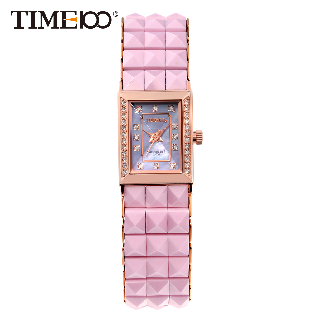 Time100 Watches Women Quartz Watches Ceramic Pink Strap Diamond Shell Dial Ladies Casual Bracelet Wrist Watch relogios feminino amica luxury crystal diamond blue shell dial womens quartz watch ladies watch