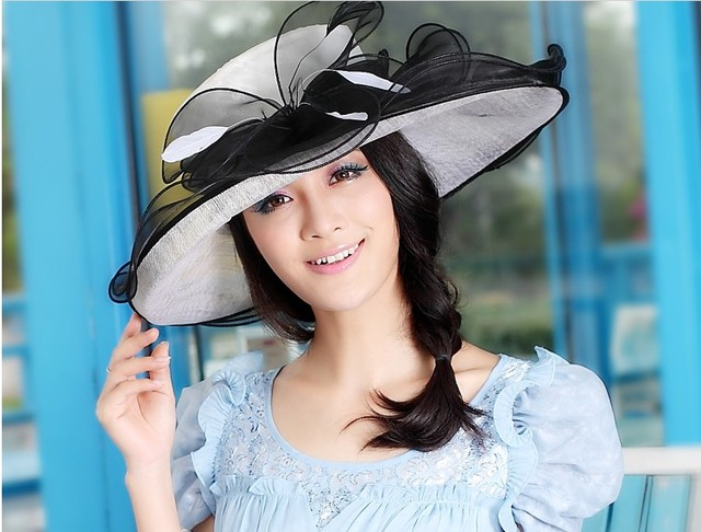 7647a51dbd4 Women Sinamay Hat Derby Church Wedding Cocktail Evening Party Wide Brim Cap  Dress Sun Fedora Beanies