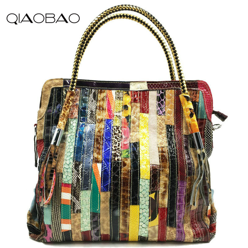 QIAOBAO Patchwork Women Snake Leather Handbags Vintage Large Ladies Hand Bags Girls Soft Genuine Leather Shoulder Bag Lady Totes qiaobao 2017 new 100% cowhide leather handbags women patchwork ladies hand bags girls soft genuine leather shoulder bag ladybag